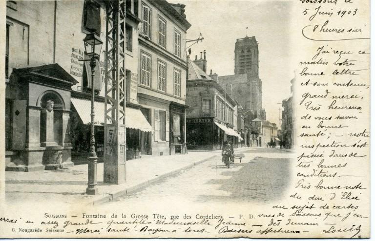 Soissons - Fontaine de la Grosse Tête, rue des Cordeliers