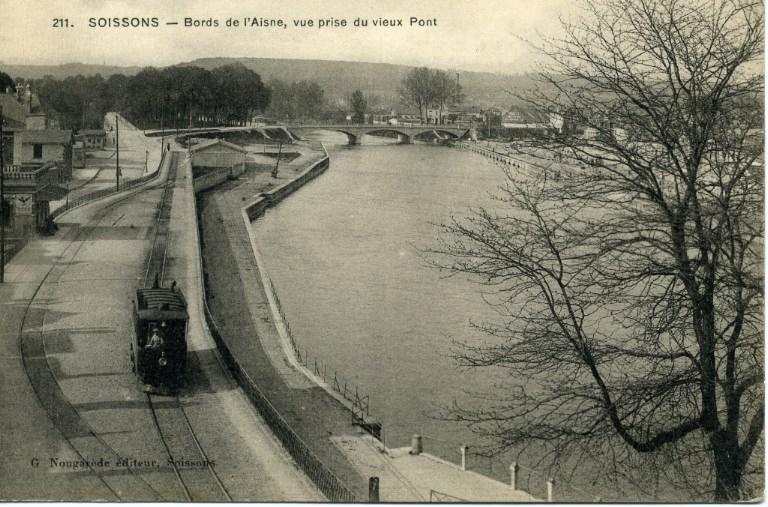 Soissons - Bords de l'Aisne, vue prise du vieux Pont_0