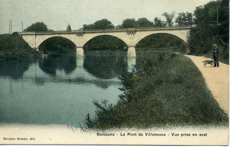 Soissons - Le pont de Villeneuve - Vue prise en aval_0