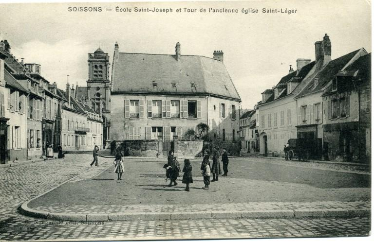Soissons - École Saint-Joseph et Tour de l'ancienne église Saint-Léger