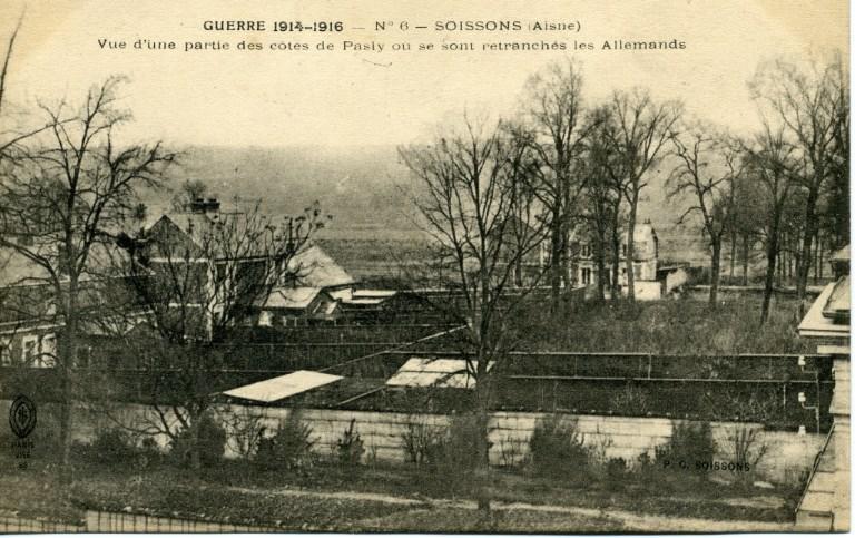 Guerre 1914-1916 - Soissons - Vue d'une partie des côtes de Pasly où se sont retranchés les Allemands_0