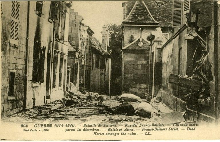Guerre 1914-1916 - Bataille de Soissons - Rue des Francs-Boisiers - Chevaux morts parmis les décombres_0