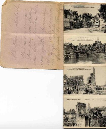 Carte-lettre - La plainte des ruines - Soissons : Place de la Cathédrale (côté sud), Pont de Saint-Waast, dit 'des Anglais' parce que refait par les Anglais fin 1914 (vue prise du côté Sud-Est), Cathédrale (Vue prise du côté Nord-Est), Environs du Quartier Saint-Martin, Place Saint-Pierre (côté Nord), Environs du Quartier Saint-Martin, Pont de Saint-Waast, dit 'des Anglais' et Rivière l'Aisne (vue prise du côté Sud-Ouest), Rue du Collège, Place Saint-Pierre (côté Nord-Ouest) et Rue du Commerce, Place du Cloître_0
