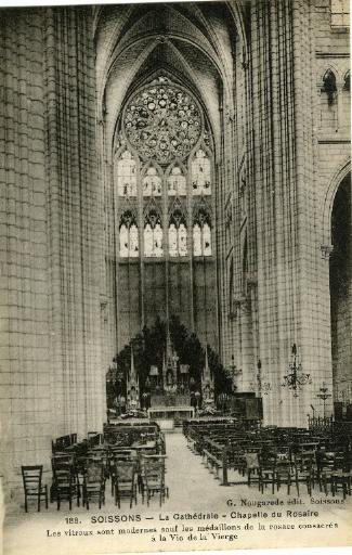 Soissons - La Cathédrale - Chapelle du Rosaire. Les vitraux sont modernes sauf les médaillons de la rosace consacrés à la Vie de la Vierge_0