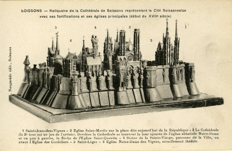 Soissons - Reliquaire de la Cathédrale de Soissons représentant la Cité Soissonnaise avec ses fortifications et ses églises principales (début du XVIIe siècle)_0