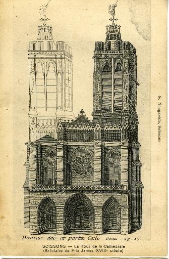 Soissons - La Tour de la Cathédrale (Bréviaire de Fitz James XVIIIème)_0
