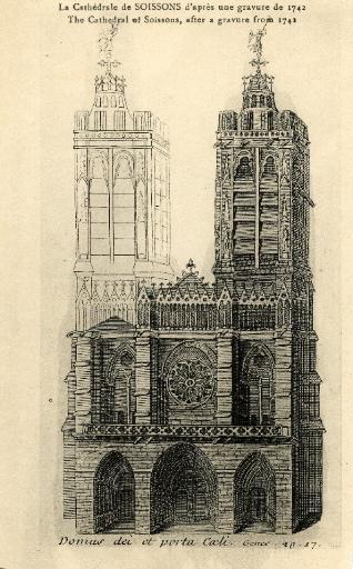 La Cathédrale de Soissons d'après une gravure de 1742. Domus dei et porta coeli (Bréviaire de Fitz James XVIIIe siècle)_0