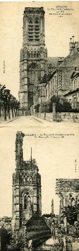 La Tour de la Cathédrale en 1914. La Tour de la Cathédrale en 1920_0