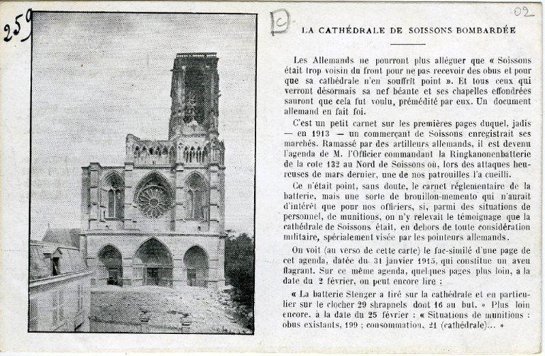 La cathédrale de Soissons bombardée. La Ringkanonenbatterie contre la Cathédrale de Soissons_0