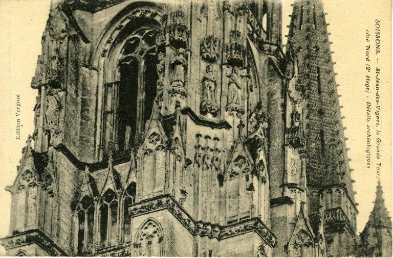Soissons - Saint-Jean-des-Vignes - La Grande Tour, côté Nord (2ème étage) - Détails archéologiques