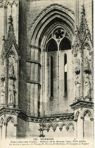 Soissons - Saint-Jean-des-Vignes - Statues de la Grande Tour, XIVe siècle. De droite à gauche, la Vierge, Saint Pierre, Saint Matthieu, Saint Jacques le Majeur_0