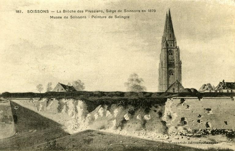 Soissons - La Brèche des Prussiens - Siège de Soissons en 1870 - Musée de Soissons - Peinture de Salingre_0
