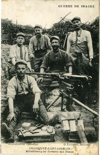Guerre de 1914-1915 - Villeneuve-Saint-Germain - Mitrailleuse, les Servants aux Dunes_0