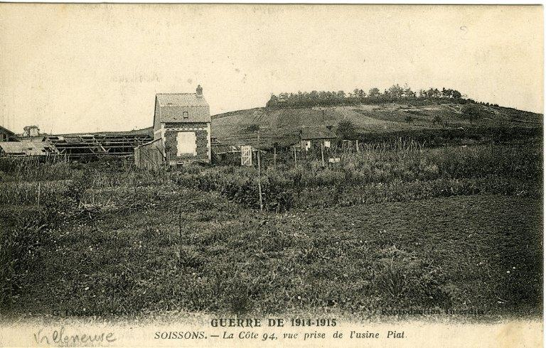 La grande guerre 1914-1915 - La côte 94, vue prise de l'usine Piat_0
