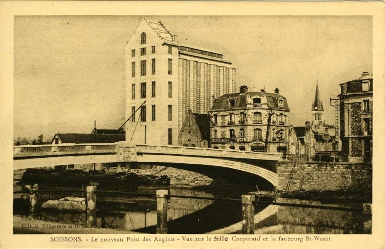 Soissons - Le nouveau Pont des Anglais - Vue sur le Silo Coopératif et le Faubourg Saint-Waast