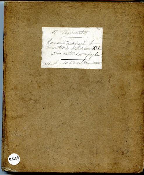 Manuscrit autographe de Demoustier au siècle de Louis XIV ; Ephémérides (autre titre)_0
