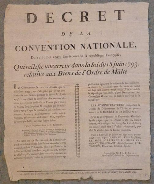 Décret de la Convention Nationale du 12 juillet 1793