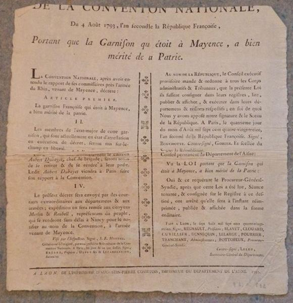 Décret de la Convention Nationale du 4 août 1793_0