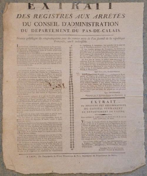 Extrait des Registres aux Arrêtés du Conseil d'Administration du département du Pas-de-Calais_0