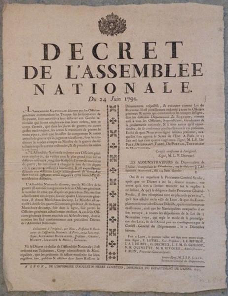 Décret de l'Assemblée Nationale du 24 juin 1791_0