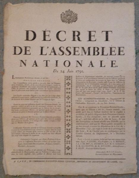 Décret de l'Assemblée Nationale du 24 juin 1791