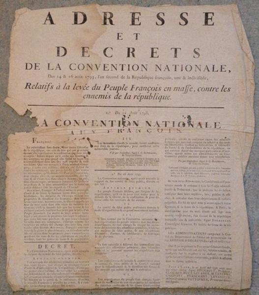 Adresse et Décrets de la Convention Nationale 14 et 16 aout 1793