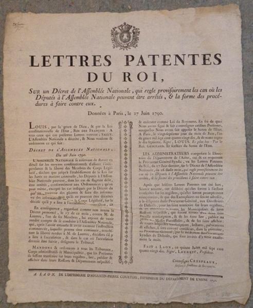 Lettres patentes du roi du 27 juin 1790_0
