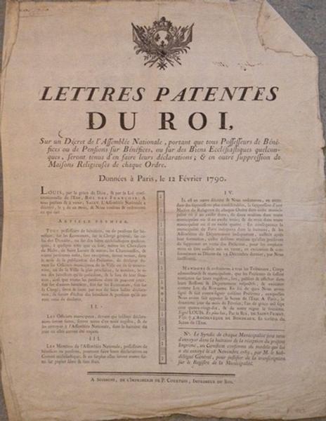 Lettres patentes du Roi du 12 février 1790