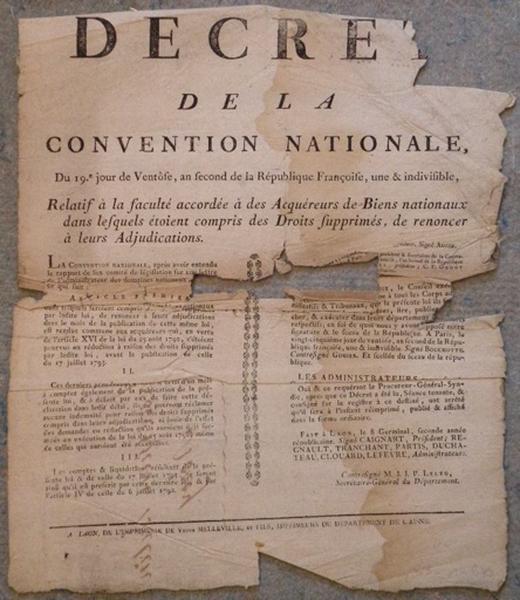Décret de la Convention Nationale du 9 mars 1794