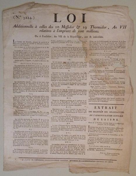 Loi additionnelle à celles des 10 Messidor et 19 Thermidor an VII