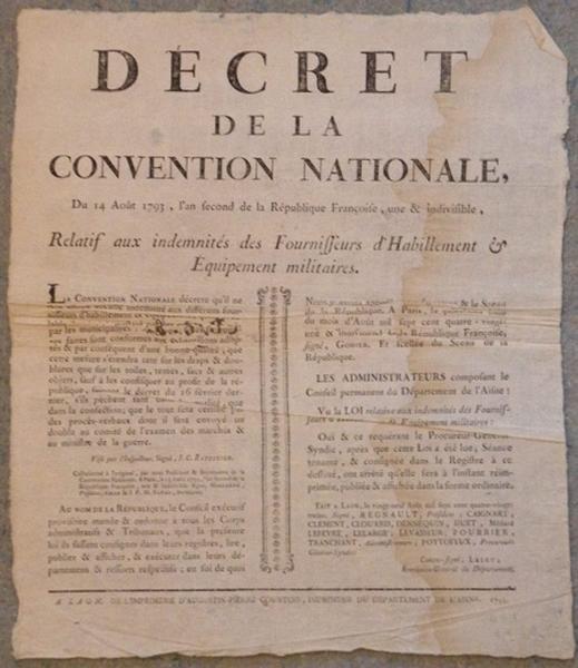 Décret de la Convention Nationale du 14 août 1793_0