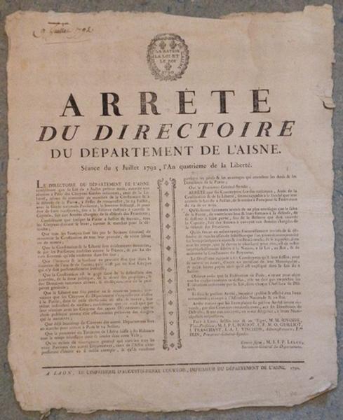 Arrêté du Directoire du département de l'Aisne du 5 juillet 1792_0