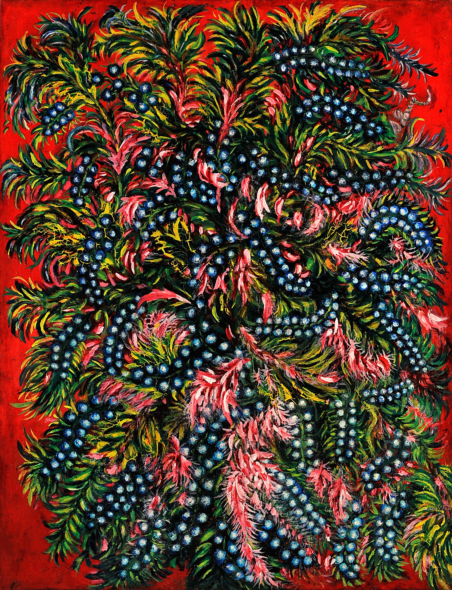 Grappes et feuilles roses_0