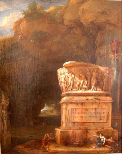 Paysage à la grotte avec sarcophage antique