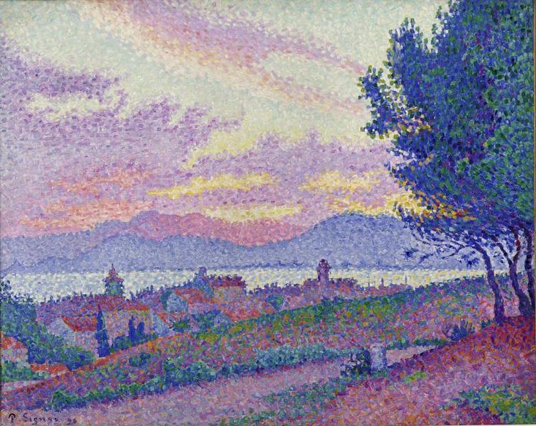 SIGNAC Paul : Vue de Saint-Tropez, coucher de soleil au bois de pins