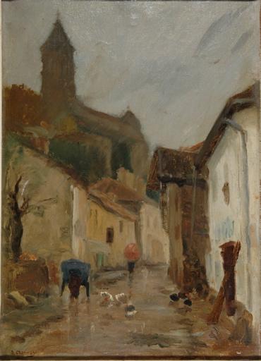 Une rue de Châteauneuf-sur-Sornin par la pluie_0