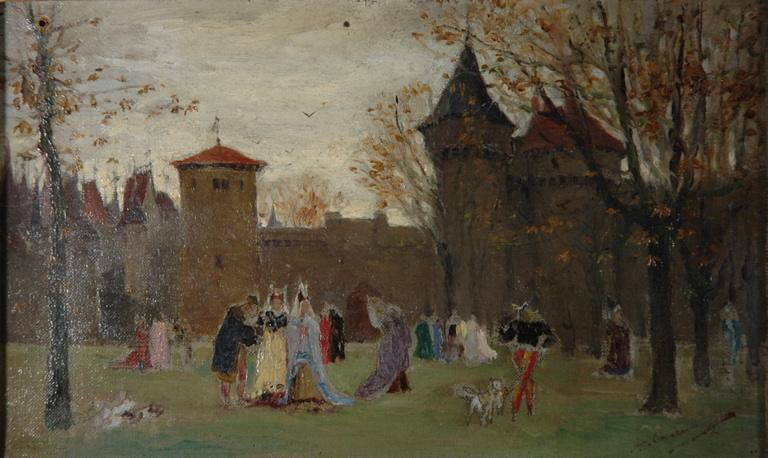 Scène médiévale dans un parc de château_0