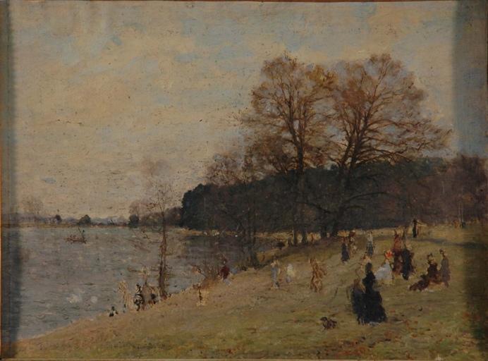 Promeneurs au bord d'un lac_0