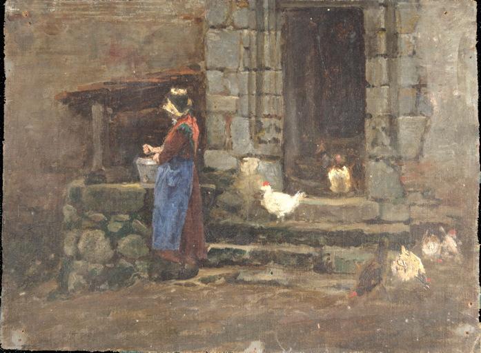 Paysanne puisant de l'eau, entourée d'une basse-cour