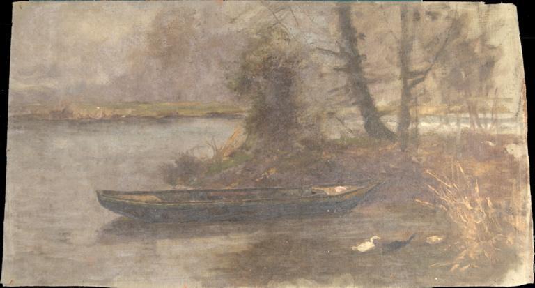 Barque amarrée et canards_0