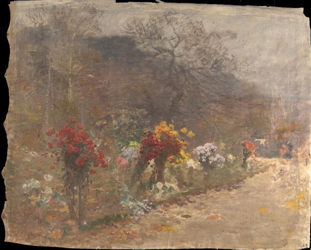 Allée bordée de chrysanthèmes_0