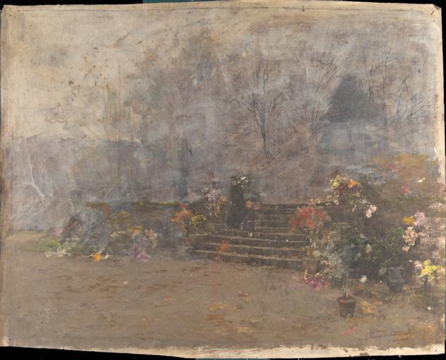La terrasse de la maison à Charlieu (recto). Scène indéterminée (verso)_0