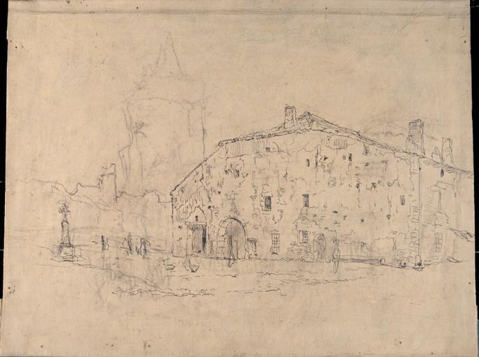 Place de village avec grande bâtisse_0