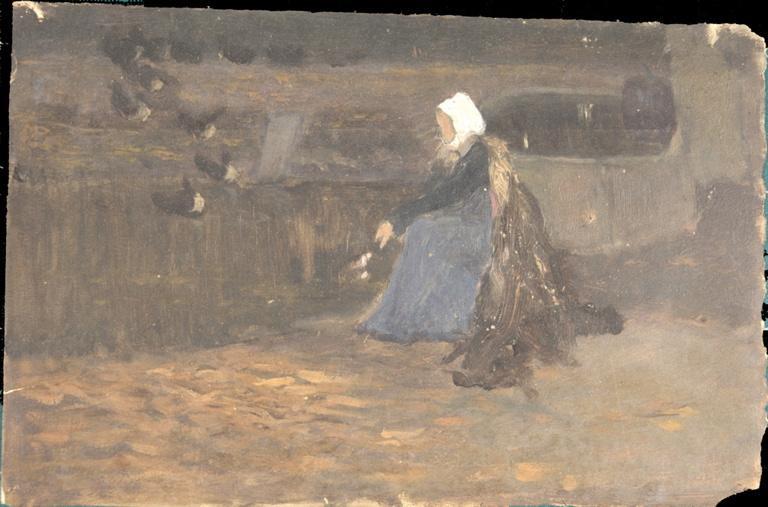 Vieille femme donnant à manger aux canards_0
