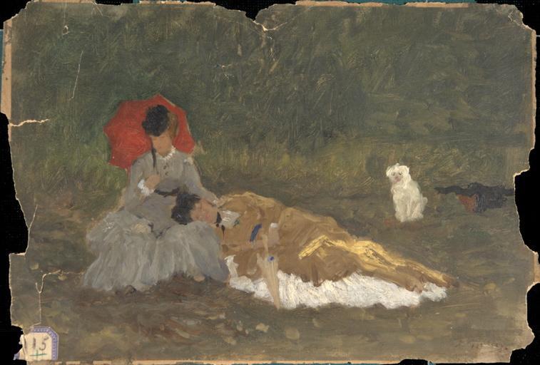Elégantes au petit chien blanc