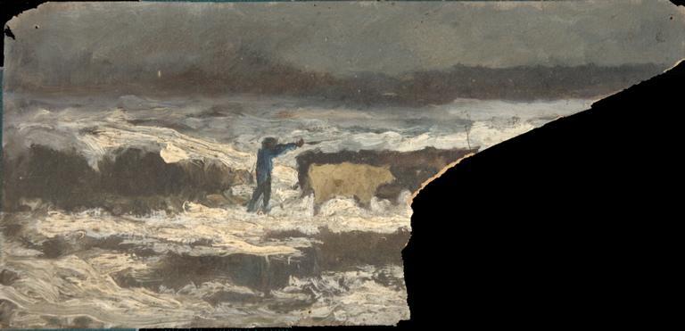 Vacher et son troupeau dans la neige_0