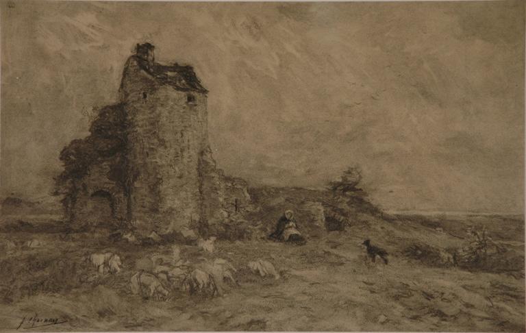 Bergère et son troupeau près d'une ruine_0