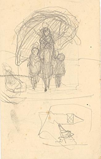 Etude de groupe femme-enfants sous un parapluie (recto) - Croquis de bâtiment (verso)_0
