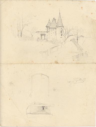 Etude de château (verso). Etude de femme à l'ombrelle  (verso)_0