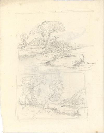 Etudes de paysage avec cours d'eau (recto). Etude de mouton ; études de femme (verso)_0